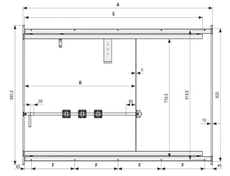 ALU 55 Bastidor de aluminio extensible para mesasCon volteador para tableros integrado. 1196 MM 700 MM 812 MM 2008 MM 1123 MM 273,3 MM ALUMINIO 1396 MM 900 MM 1012 MM 2408 MM 1323 MM 323,3 MM ALUMINIO 1596 MM 1100 MM 1212 MM 2808 MM 1523 MM 298,6 MM ALUMINIO