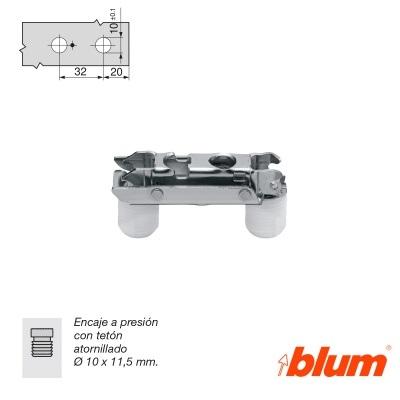 BLUM BASES RECTAS LONGITUDINAL PARA BISAGRAS CLIP TOP REGULACION FRONTAL EXCENTRICA NIQUELADO 0-0 teton presion 10x11,5mm ACERO NIQUELADO 3 teton presion 10x11,5mm ACERO