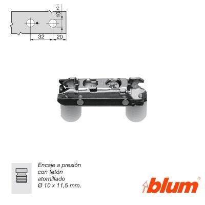 BLUM BASES RECTAS LONGITUDINAL PARA BISAGRAS CLIP TOP REGULACION FRONTAL EXCENTRICA negro onix 0-0 teton presion 10x11,5mm ACERO negro onix 3 teton presion 10x11,5mm ACERO