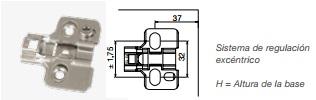 BISAGRA Y BASE CAZOLETA 35 SOFT CLOSE NIQUEL BASE H:0 BASE 32 MM ATORNILLAR 10 UNID. NIQUEL BASE H:2 32 MM ATORNILLAR 10 UNID.