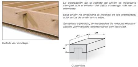 CUBERTERO MODULAR MADERA HAYA COLOMBO B 20 MM HAYA 471X8 MM REGLETA DE UNION
