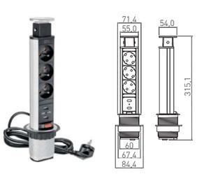 ELEVATOR TORRE TELESCOPICA D:60 EKO PLATA 3 TT+2 USB