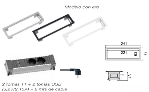 ENCHUFE POWER ENCASTRE MODULO KIT GRIS 2 TT+ 2 USB CON ARO