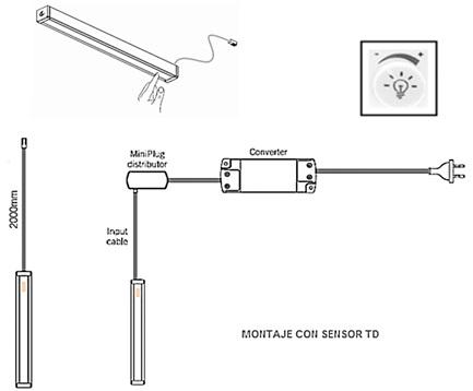 AB SENSOR DE ENCENDIDO POR TACTO Y REGULADOR LUMÍNICO Válido para los perfiles S-1210 HD, LEAF HD Y LEDYE HD TD TDM