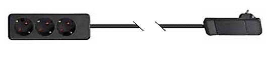 SMART PLUG CLAVIJA DE ENCHUFE EXTRAPLANA NEGRO MODULO 3TT+1,6 MTS CABLE