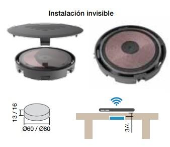 MINIBATT FI60 / FI80 CARGADOR INALAMBRICO DE EMBUTIR PARA SMARTPHONES 60 MM 5 V-1,0 ah 80 MM 5/9 V-2,0 ah