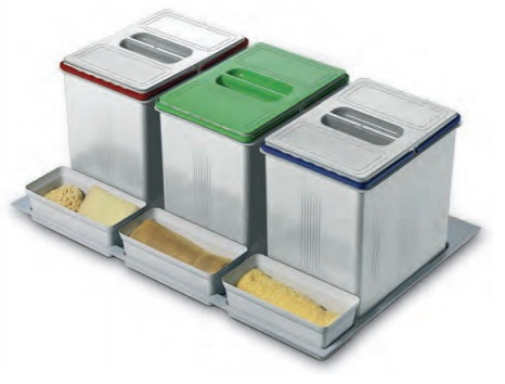 KIT RECICLAJE VASCH PARA CAJON DE COCINA 300 mm 700/730 mm 420/490 mm 3 recipientes+3 cubos 17 litros 800 mm