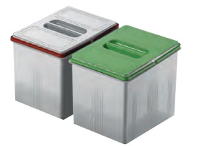 KIT RECICLAJE VASCH PARA CAJON DE COCINA 230 mm 315 mm 13 litros gris/verde 230 mm 315 mm 13 litros gris CUBO REPUESTO