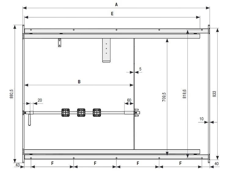 ALU 55 Bastidor de aluminio extensible para mesasCon volteador para tableros integrado.
