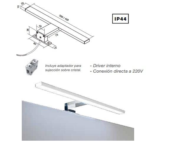 APLIQUE BAÑO FENIX LED 1 BRAZO A 220 V