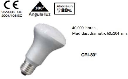 BOMBILLA REFLECTORA DIAMETRO 63 LED 220v E-27
