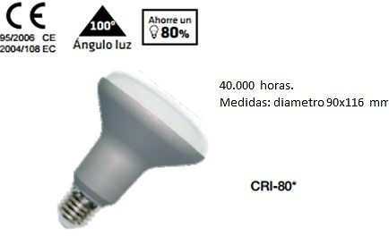 BOMBILLA REFLECTORA DIAMETRO 90 LED 220v E-27