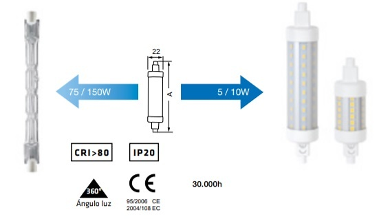 BOMBILLA lineal LED 240v AC R7s