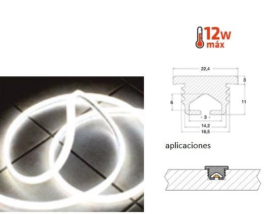 CAPO ROLLO PERFIL PVC EMPOTRADO OPACO PARA LED