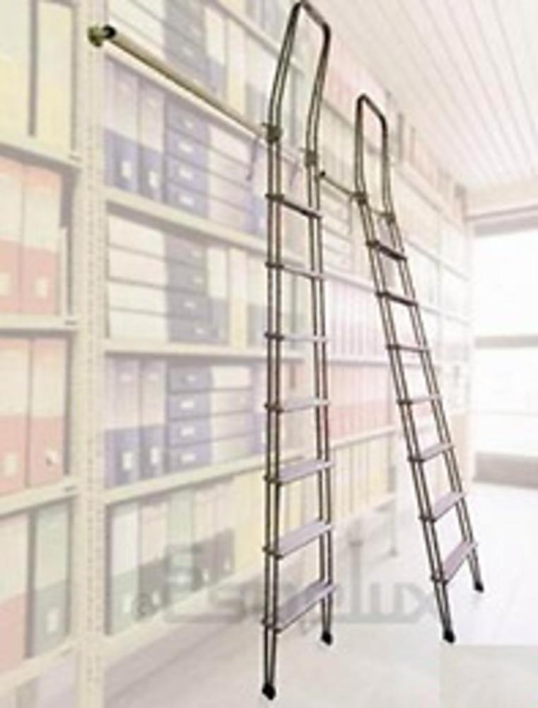 Escalera aluminio deslizante adosada con ganchos - Escalera de biblioteca ...