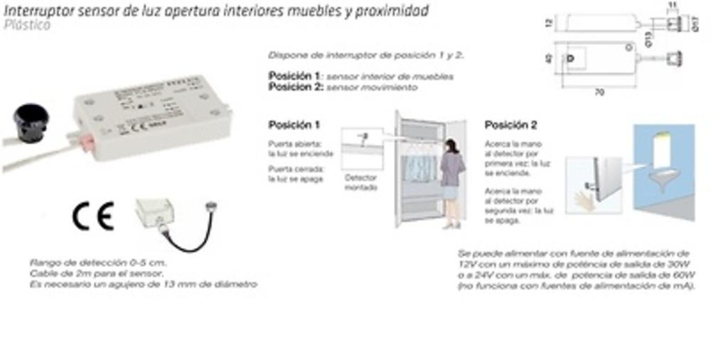 INTERRUPTOR SENSOR EMBUTIR 2 POSICIONES PROXIMIDAD Y ON/OFF POR PROXIMIDAD
