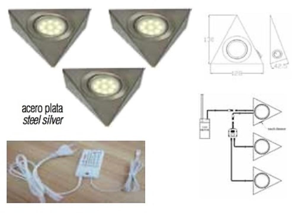 KIT 3 FOCOS TRIANGULAR LED CON SENSOR Y TRANSFORMADOR