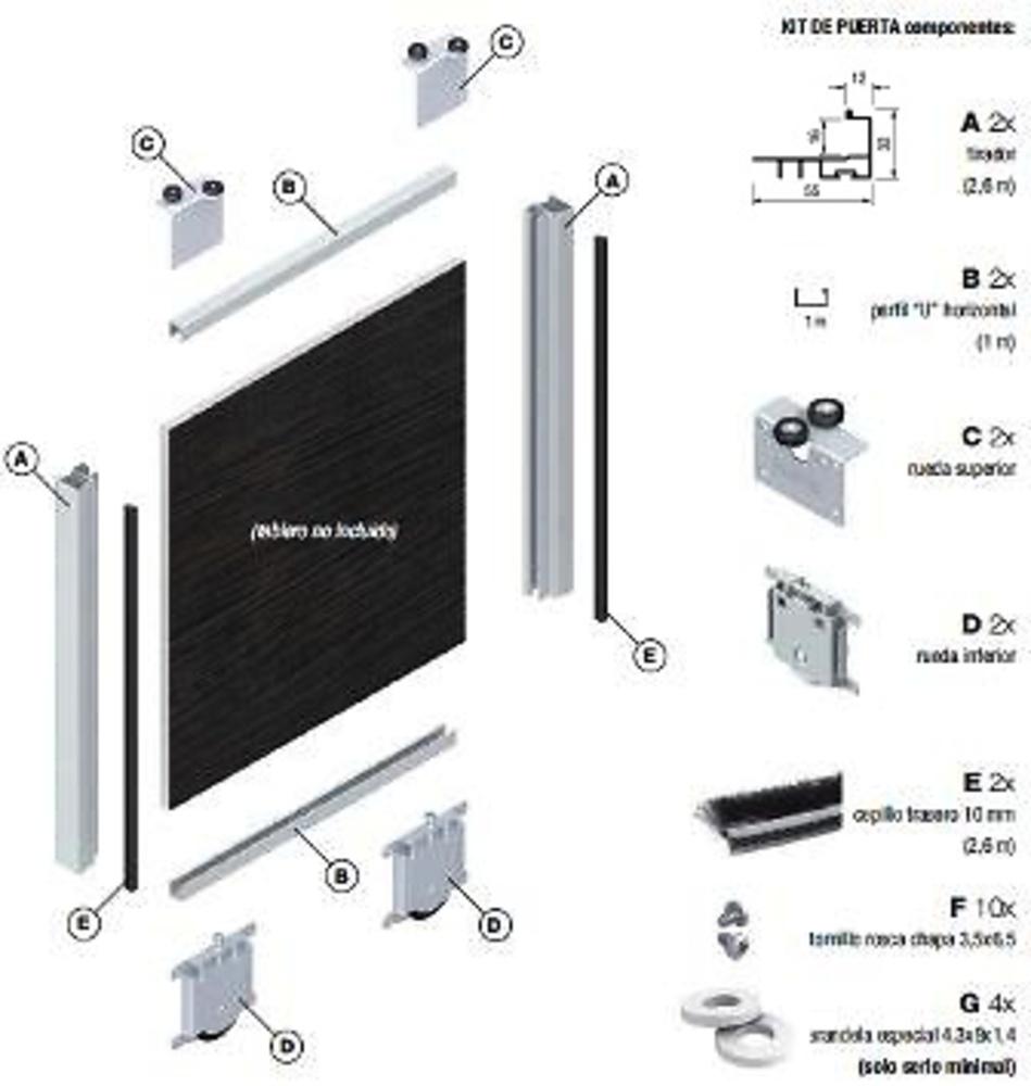 Perfil terra puerta armario tr16v7s85 minimalista 16 mm lacados y anodizados guias y armarios - Sistemas puertas correderas armarios ...