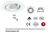 foco MIREYA Basculante orientable redondo con lámpara incluida a 230 V